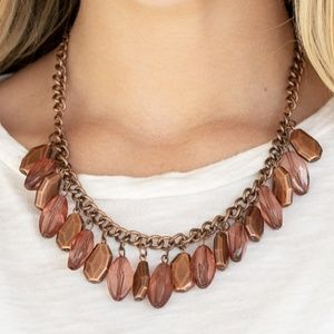 Copper Chain Necklace with Copper Beads